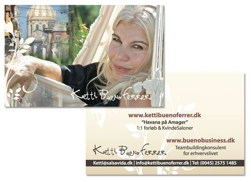 Ketti Bueno Ferrer Salsa Vida visitkort design by Stylize