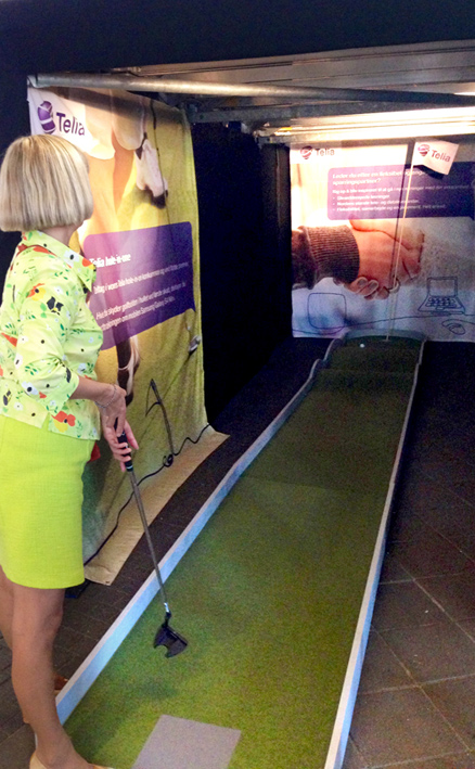 Telia messestand golf event design banner Stylize