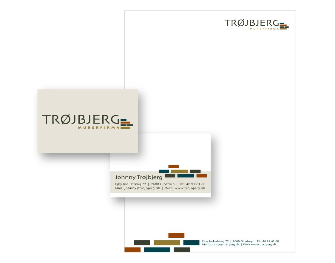 Murerfirma Trøjbjerg visitkort og brevpapir design Stylize.dk